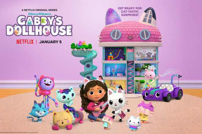 Gabby's Dollhouse Season 1. Welcome to Gabby's Dollhouse, the preschool show with a surprise inside! DreamWorks Gabby's Dollhouse unboxes a surprise before jumping into a fantastical animated world full of adorable cat characters that live inside Gabby's dollhouse. Any adventure can unfold when we play in Gabby's Dollhouse! Premiering on Netflix January 5th, 2021.