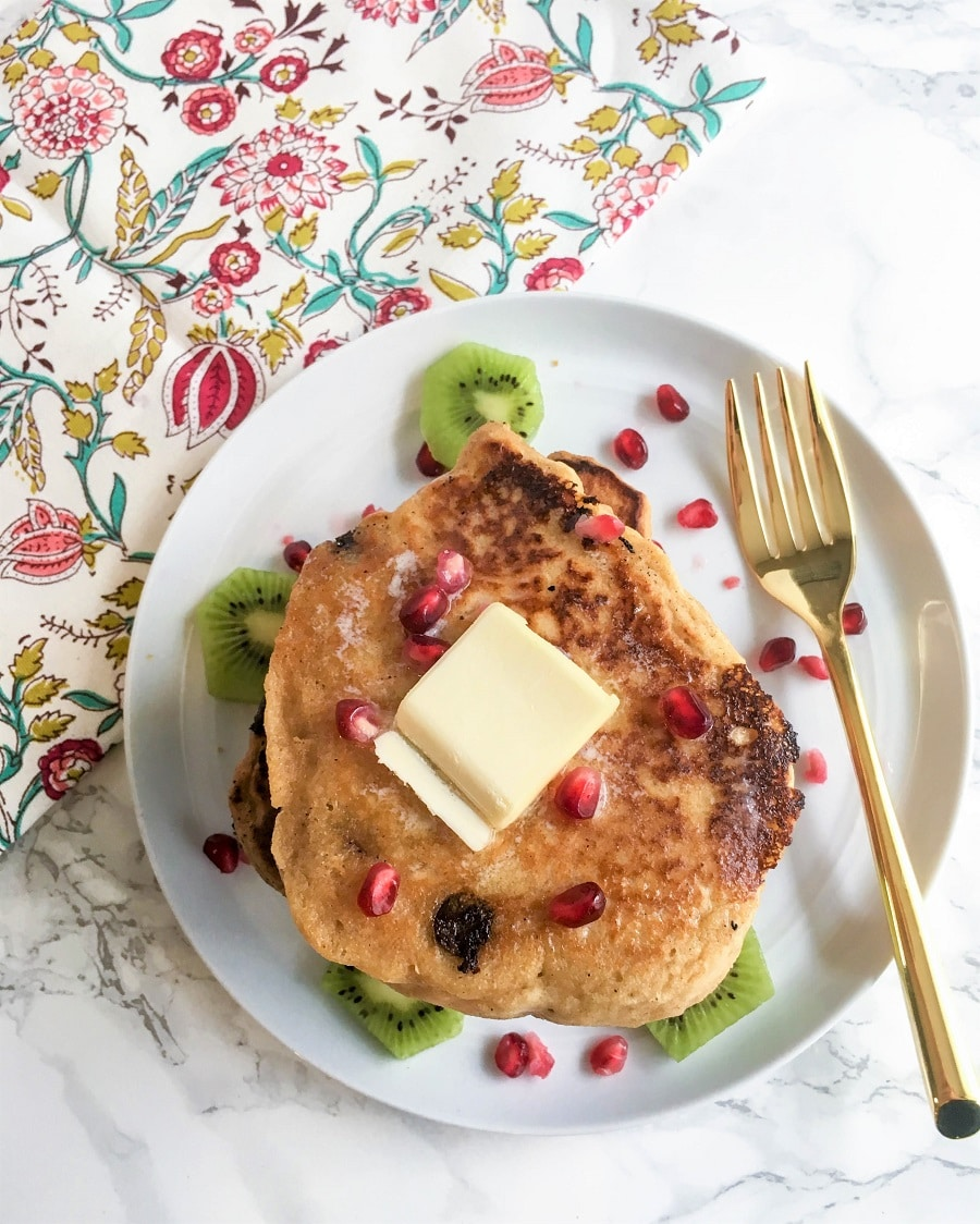 These whole wheat chocolate chip gingerbread protein pancakes are a quick, easy, and delicious breakfast for the holiday season. Made with greek yogurt and whole wheat flour, these healthy greek yogurt pancakes can be topped with any of your favorite toppings!