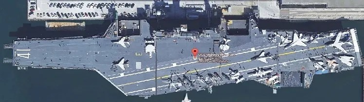 Aerial view of the USS Midway, 910 N Harbor Dr, San Diego, CA
