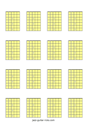 Printable blank guitar fretboard diagrams