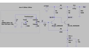 理想FuzzFace回路にギター回路を追加してFuzzノブを0から10まで変化させてみた