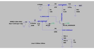 FuzzFace LTspice AC128 Hfe (VLow,High)