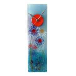 Kitchen Wall Clock Low Flow Faucet Blue Meadows Fused Glass