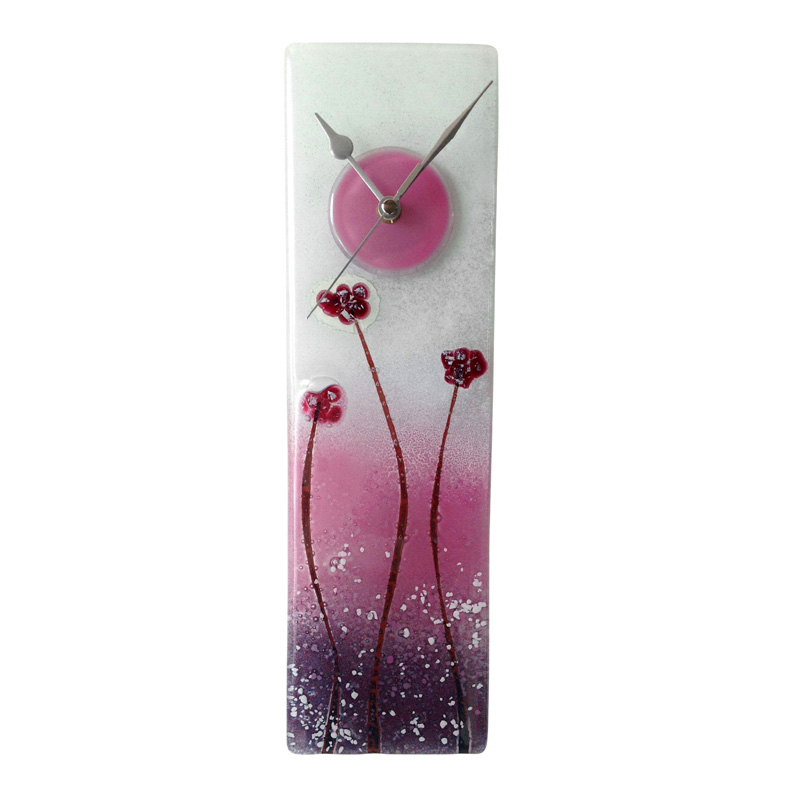 PURPLE POPPIES FUSED GLASS WALL CLOCK