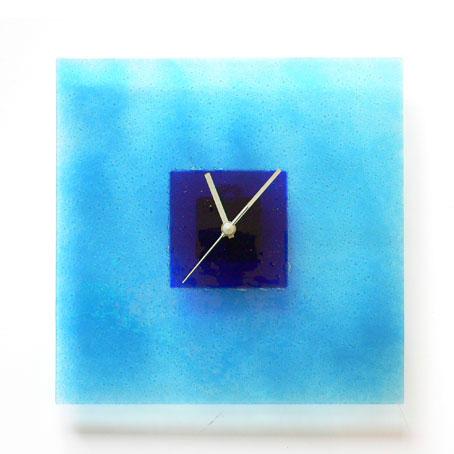 AQUA AND BLUE HOOPS GLASS WALL CLOCK