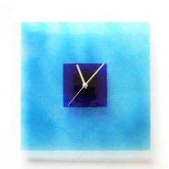 Glass Kitchen Table Sets Contemporary Ideas Aqua And Blue Hoops Wall Clock