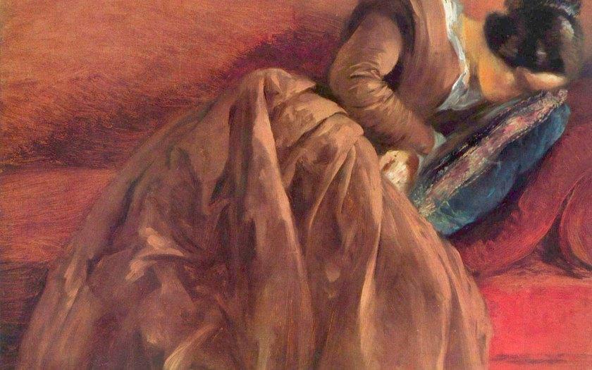 Menzels Schwester Emilie im Schlaf. Um 1848, Öl auf Papier, aif Leinwand, 46,8 × 60 cm Adolf Friedrich Erdmann von Menzel. Hamburg, Kunsthalle