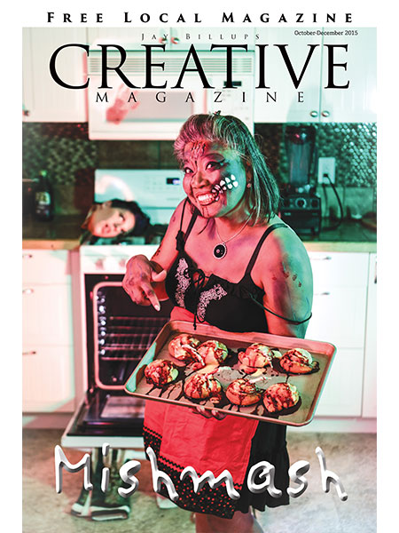 Magazine cover. Zombie woman holding a try of gross treats with someone's head on the stove in the background