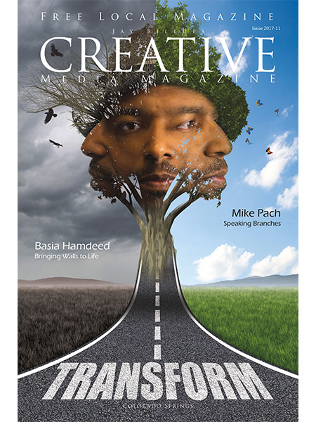 Magazine cover. transforming portrait with three faces at the end of a highway showing the difference between good and bad