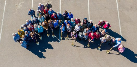 Group aerial photo via drone. Image by Jay Billups