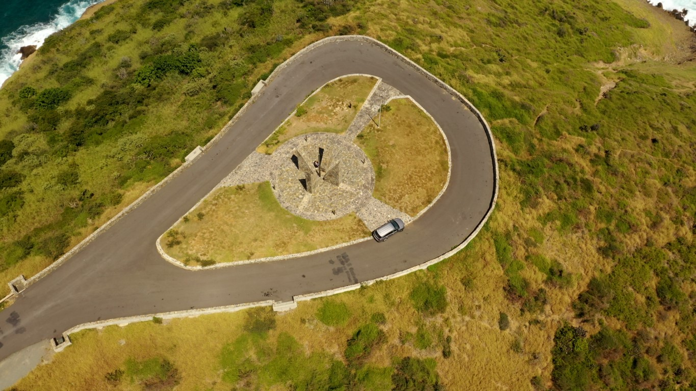 Aerial video of Point Udall sundial monument in St Croix Virgin Islands