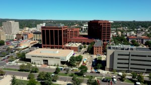 Drone photo of Plaza of the Rockies downtown Colorado Springs, CO