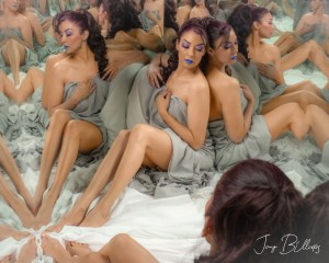 Latin woman in creative boudoir shoot with mirrors