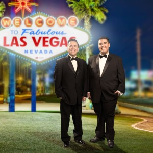 Composite photo with father and son in Las Vegas part of a senior photo shoot