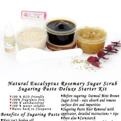 JBHomemade Natural Rosemary Eucalyptus Sugar Scrub Sugaring Paste Starter Kit