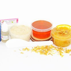 JBHomemade Natural Orange Calendula Sugar Scrub Sugaring Wax Starter Kit