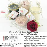 Sugaring Paste Hair Removal Full Bundle Set  - Oatmeal Scrub - Red Rose Sugar Scrub - thicker hair