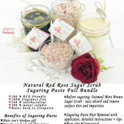 JBHomemade Natural Red Rose Sugar Scrub Sugaring Paste Full Bundle