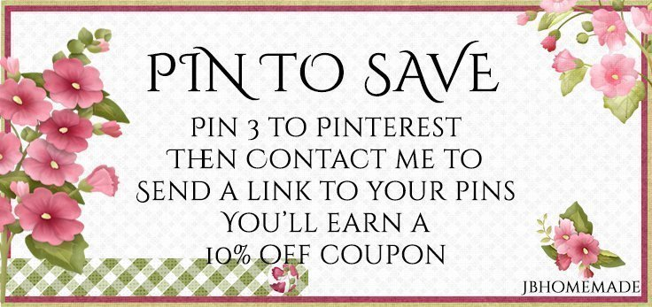 """PIN OUR LISTINGS TO SAVE"":  1. Pin three listings to your Pinterest account  2. Contact me to send a link to your pins or pinboard. 3. I'll send you a 10% off coupon to be used in any order in the shop"