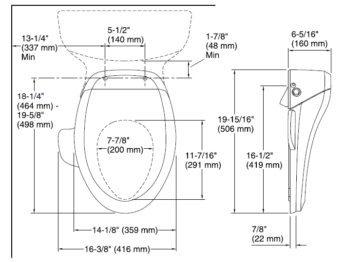 Kohler C3-125 dimensions