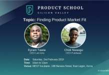 Silicon Valley's Product School's 1st event in Accra, learn about Product Market Fit. Speakers for the event are Eyram Tawia & Chidi Nwaogu