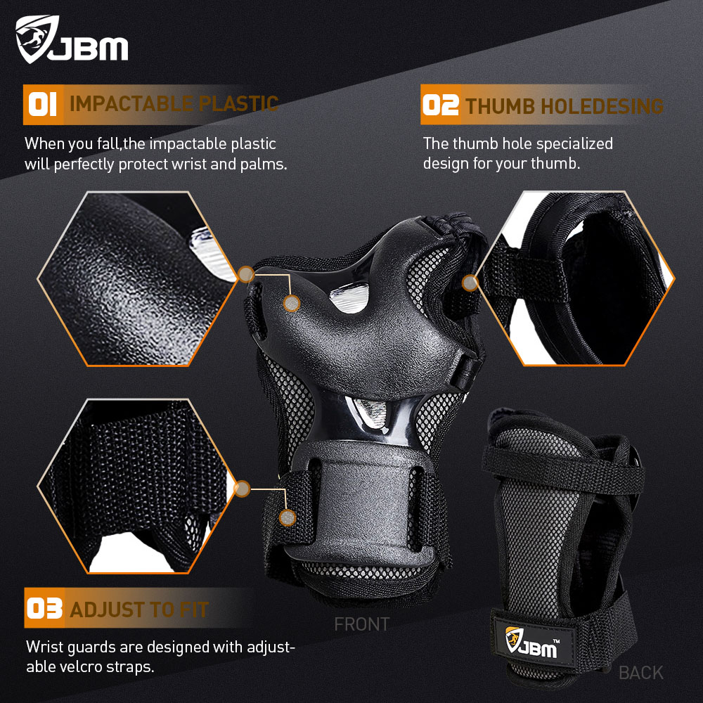 elbow chair stool massage san francisco buy jbm bmx bike knee pads and with wrist guards protective gear set black online ...