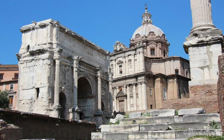 Italia - Roma - Forum Romano - Igreja de Santi Luca e Martina e Arco de Septimio Severo