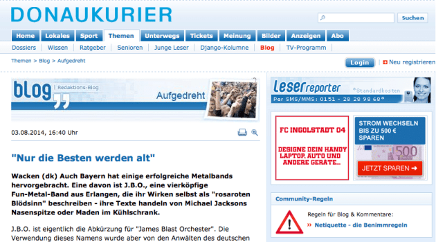 Screenshot: Donaukurier