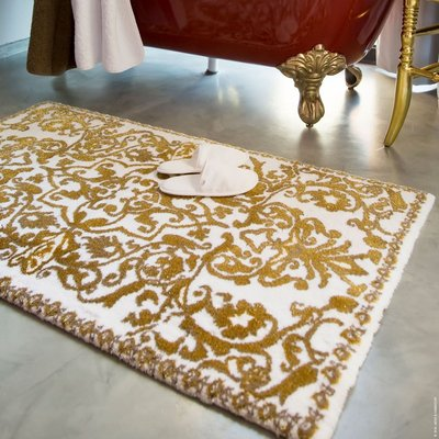 abyss habidecor perse gold bath rugs. gold and white scroll