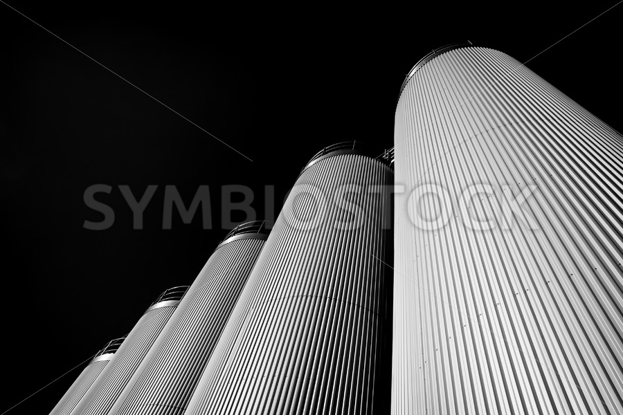 Five silos in Black and White