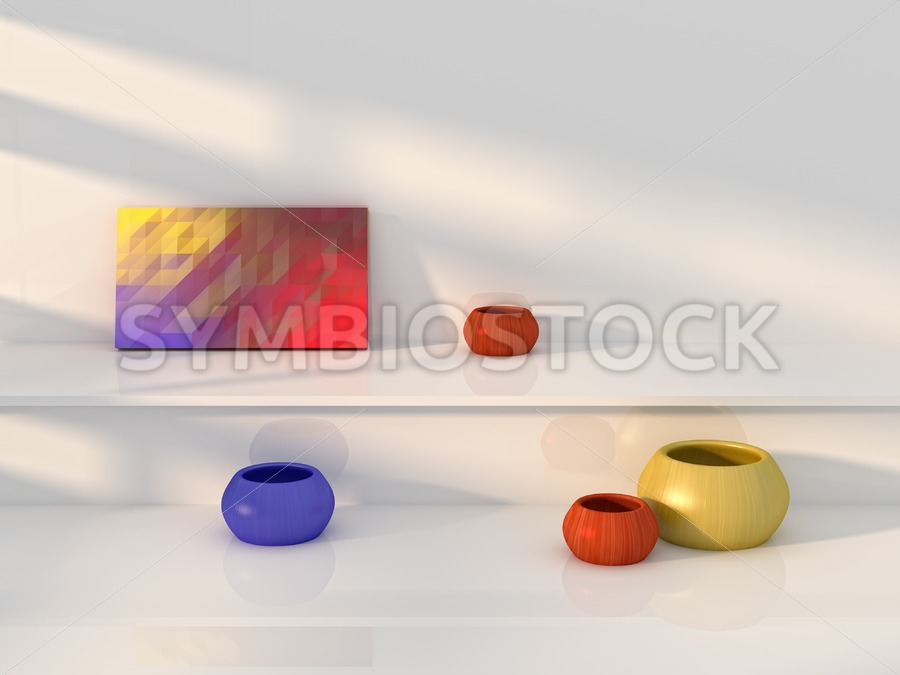 Yellow red blue vase still life - Jan Brons Stock Images