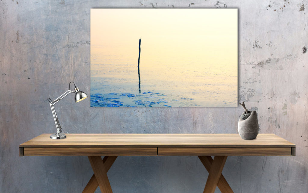 Fishing net stick in calm frozen water Wall example