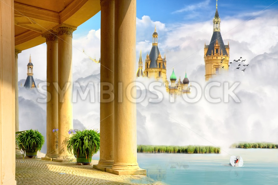 Castle in clouds - Jan Brons Stock Images