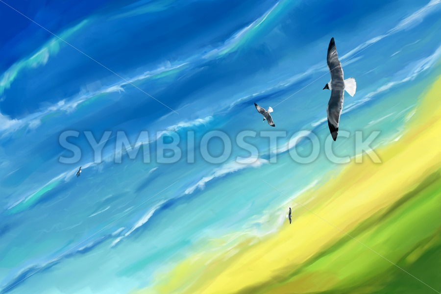 Birds view above sea - Jan Brons Stock Images