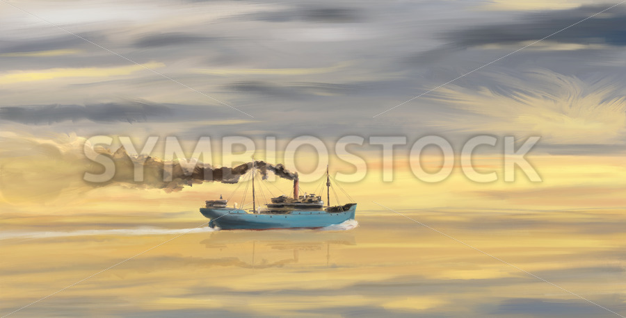 Steamship Freighter heading towards the ocean - Jan Brons Stock Images
