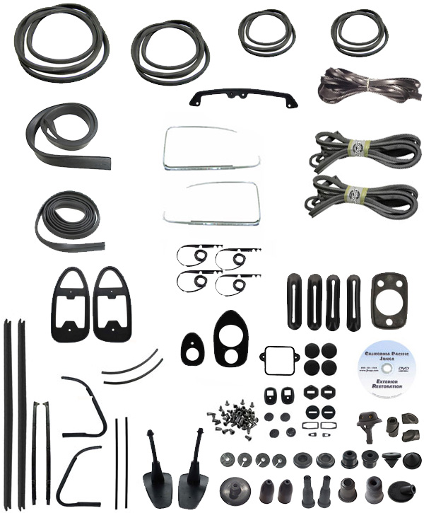 VW Complete Car Rubber Kit, Cal-Look, Beetle Sedan 1970