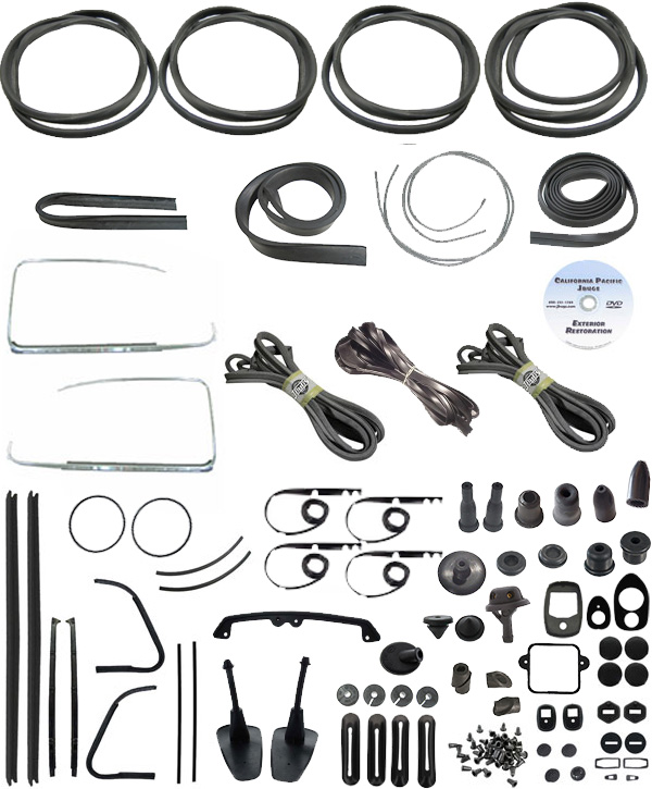 VW Complete Car Rubber Kit, Cal-Look, Beetle Sedan 1973