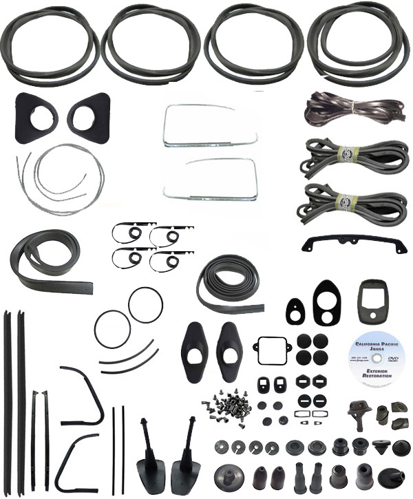 VW Complete Car Rubber Kit, Cal-Look, Super Beetle Sedan