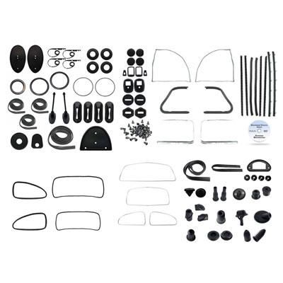VW Complete Car Rubber Kit, American Style, Beetle Sedan