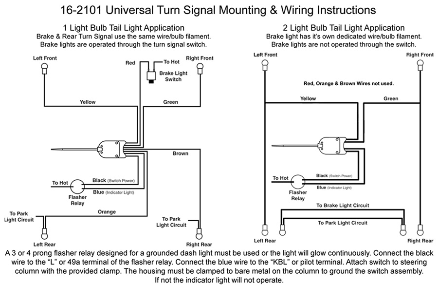 electronic flasher wiring diagram rock formation cycle column mounted universal turn signal switch: vw parts | jbugs.com