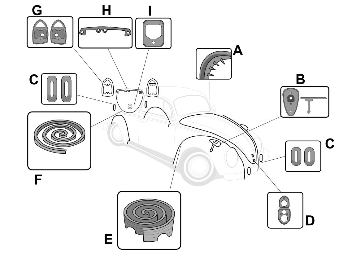 VW Body Rubber Seal Kit, Super Beetle Sedan/Convertible