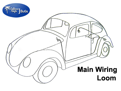 VW Main Wiring Loom, Beetle Sedan/Sunroof 1973.5-1974: VW