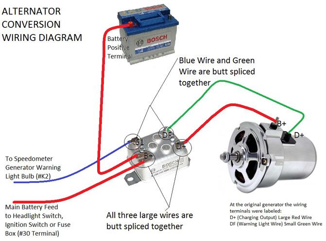 vw voltage regulator wiring diagram of car stereo alternator conversion kit, with al82 alternator: parts | jbugs.com