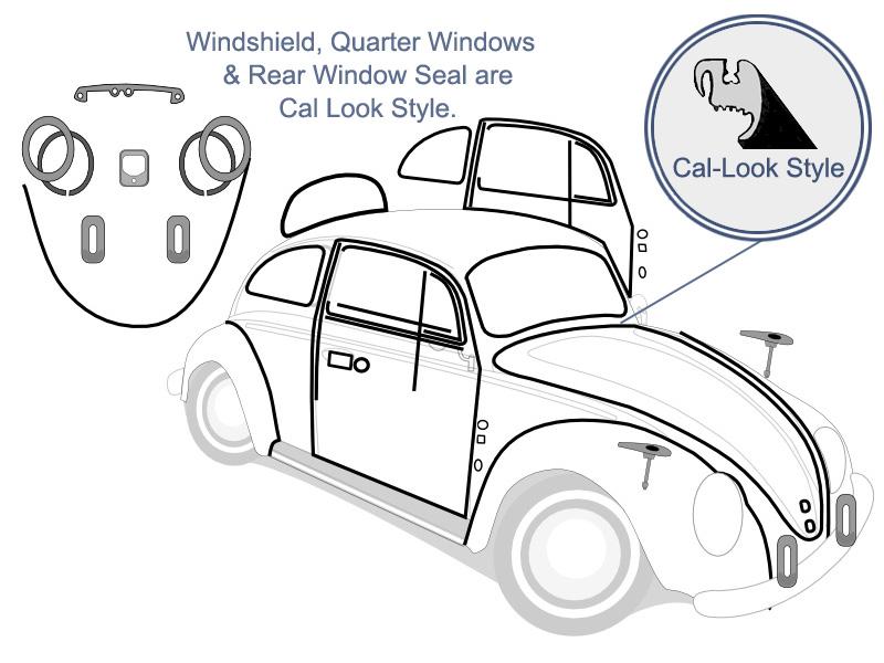 VW Complete Car Rubber Kit, Cal-Look, Super Beetle Sedan