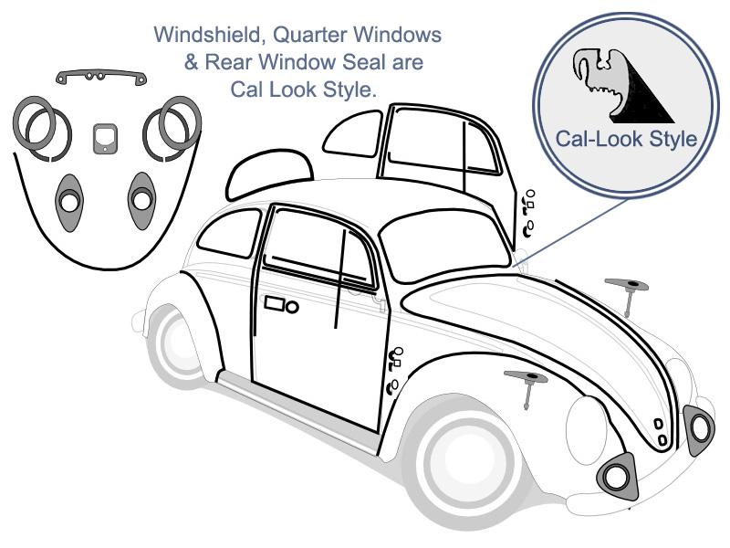 VW Complete Car Rubber Kit, Cal-Look, Beetle Sedan 1974