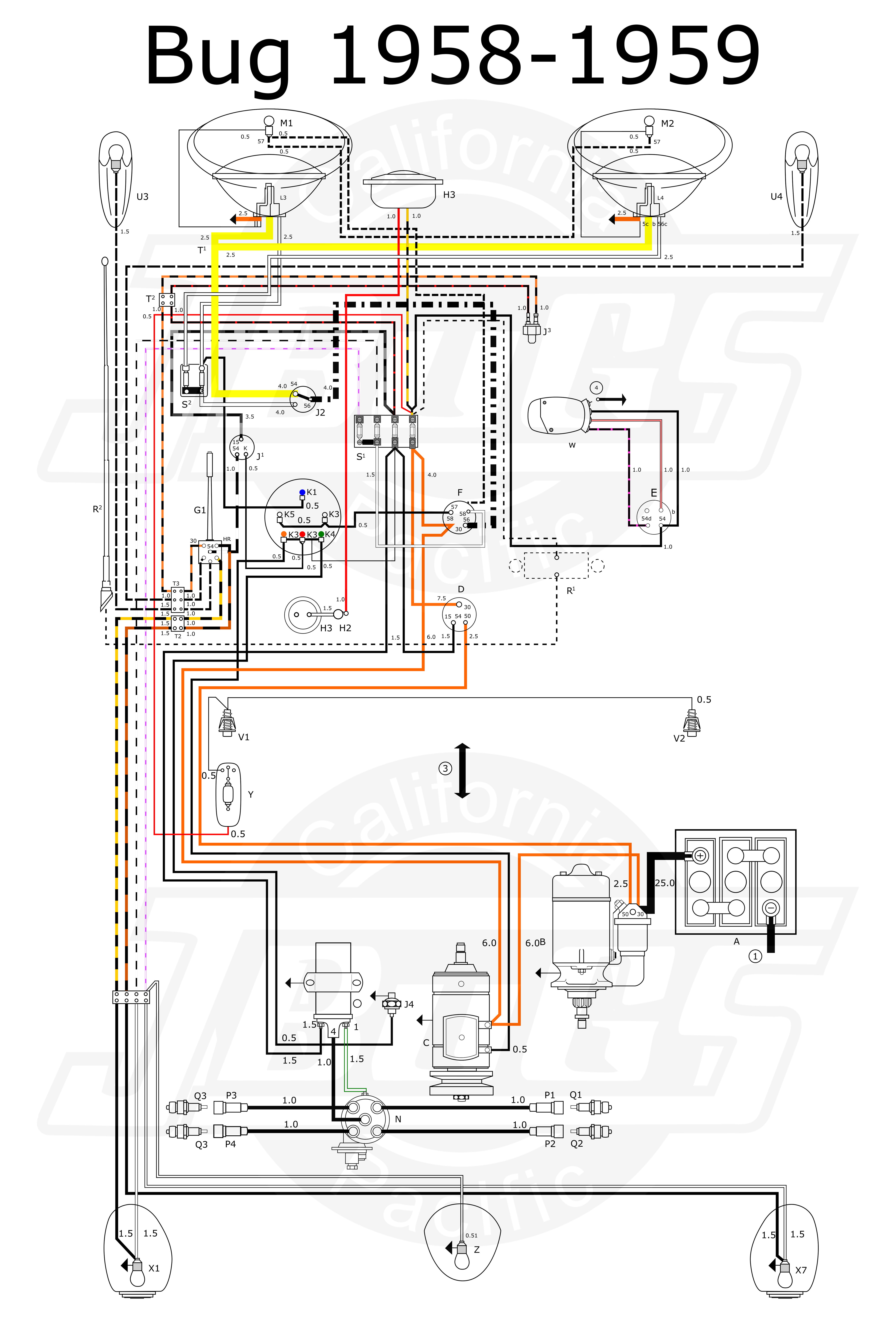 VW Bug 1958 59 Wiring Diagram?resize\\d665%2C980 vw beetle wiring diagram efcaviation com 1974 volkswagen super beetle wiring harness at bayanpartner.co