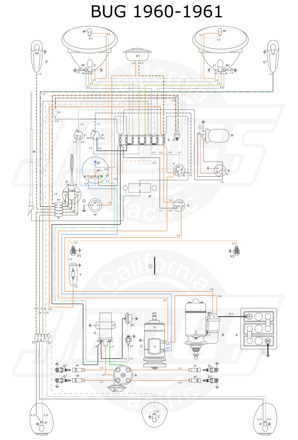 medium resolution of vw tech article 1960 61 wiring diagram 1960 vw bus fuse box