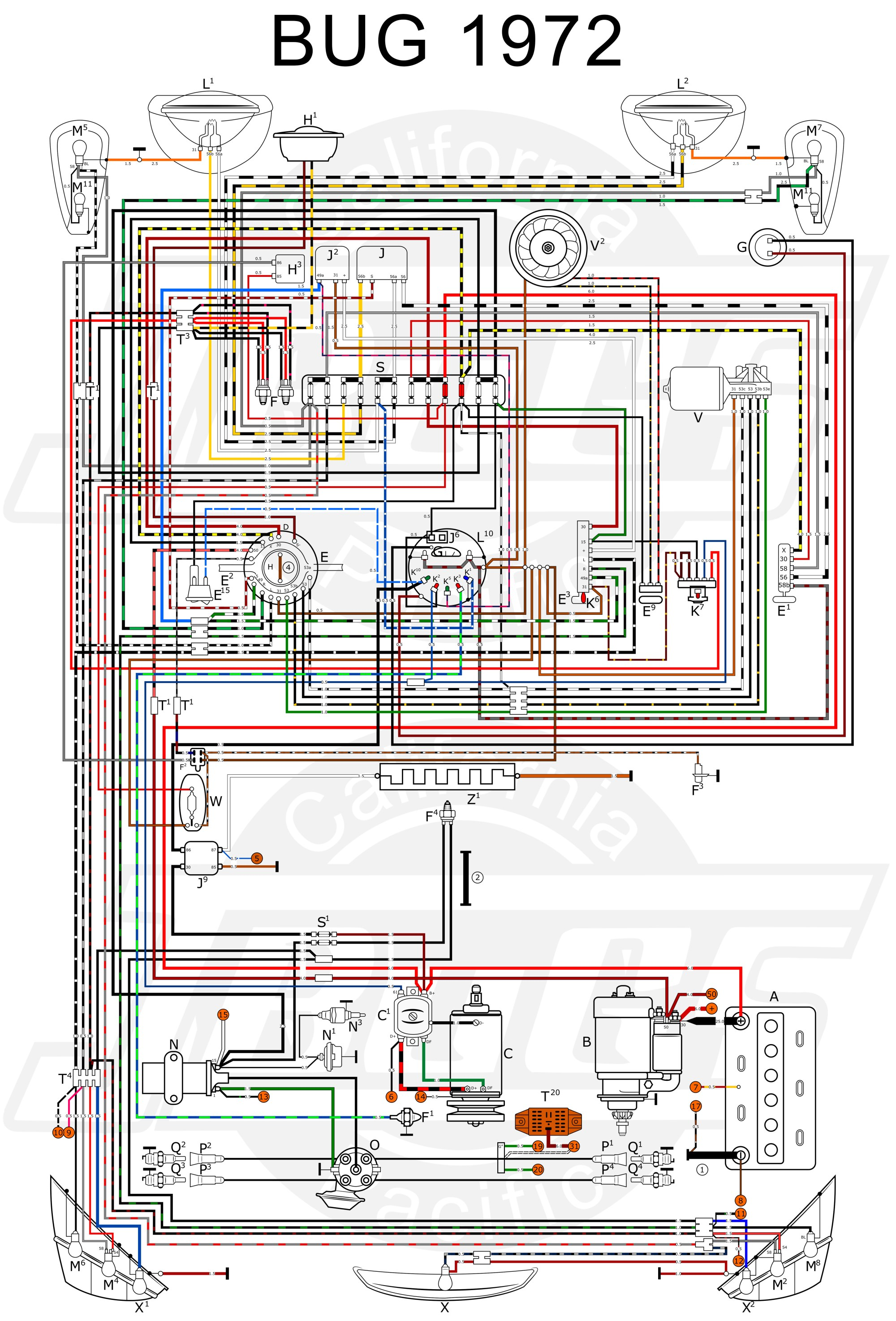 hight resolution of 1973 volkswagen beetle chassi wiring diagram