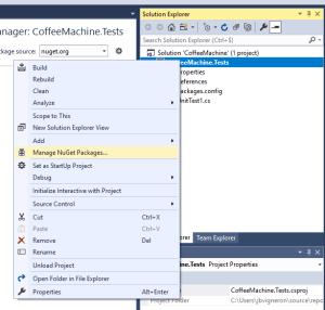 Capture d'écran - Gérer les packages NuGet dans Visual Studio