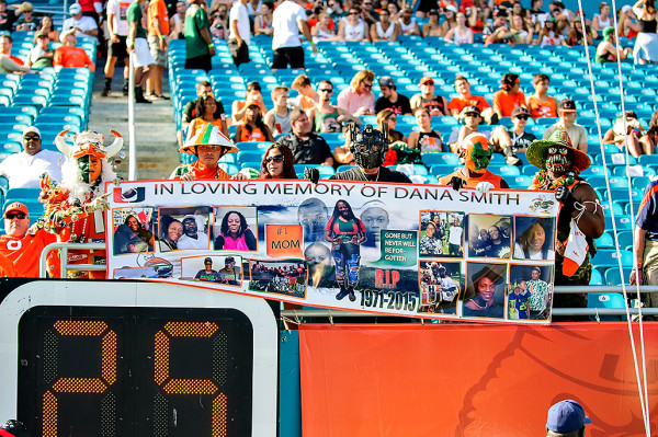 The West Endzone crew show their love for the recently departed Dana Smith, Hurricanes CB Artie Burns' mother